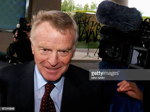 Max Mosley, President of the FIA, arrives at the Sofitel Hotel in west London, on May 15 to take part in a meeting between F1 constructors and FIA...