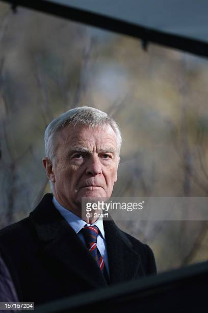 Max Mosley the former President of the FIA addresses the media outside the Queen Elizabeth II conference centre following the publishing of the...