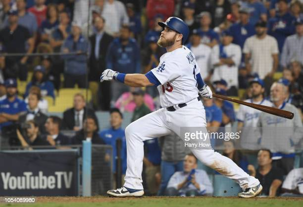 Max Muncy of the Los Angeles Dodgers hits an eighteenth inning walkoff home run to defeat the the Boston Red Sox 32 in Game Three of the 2018 World...