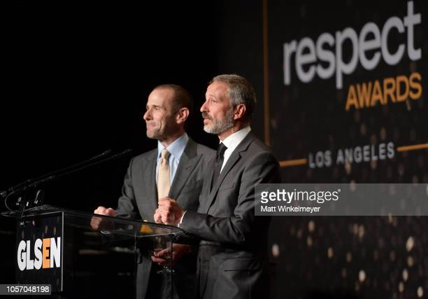 Max Mutchnick and David Kohan attend the GLSEN Respect Awards at the Beverly Wilshire Four Seasons Hotel on October 19 2018 in Beverly Hills...