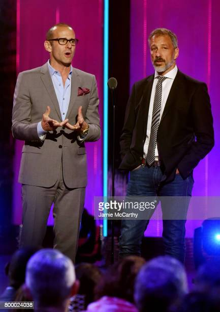 Max Mutchnick and David Kohan speak onstage at the Logo's 2017 Trailblazer Honors event at Cathedral of St John the Divine on June 22 2017 in New...