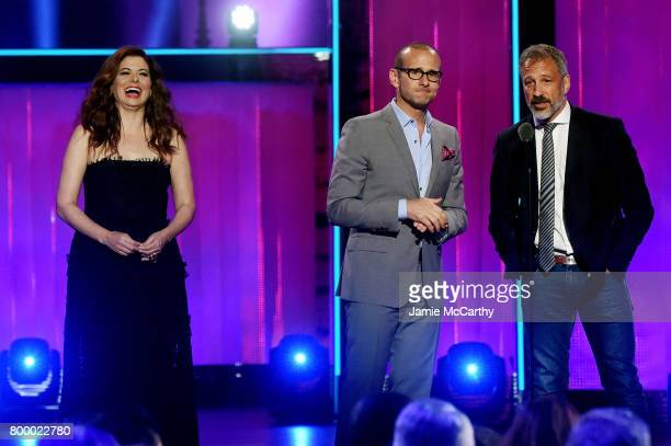 Max Mutchnick and David Kohan speak onstage with Debra Messing at the Logo's 2017 Trailblazer Honors event at Cathedral of St John the Divine on June...