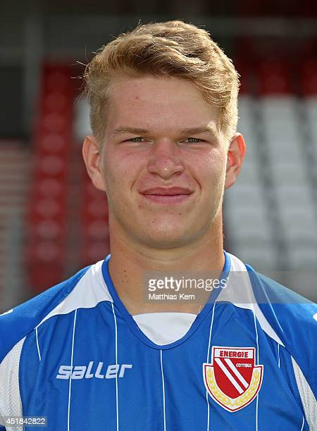 Max Oberschmidt poses during the FC Energie Cottbus team presentation at Stadion der Freundschaft on July 8 2014 in Cottbus Germany