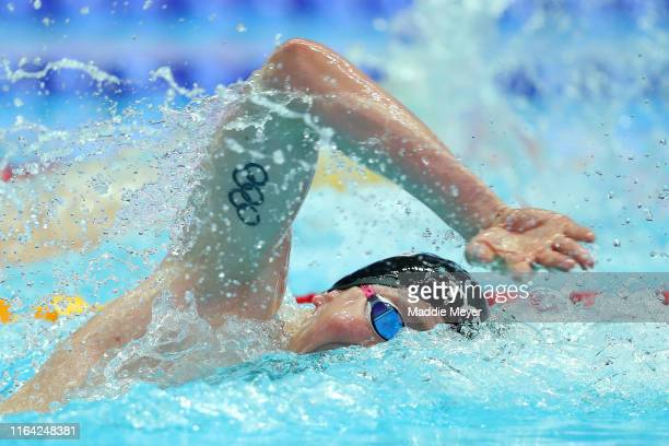 Max of Great Britain competes in the Men's 4x200m Freestyle heats on day six of the Gwangju 2019 FINA World Championships at Nambu International...