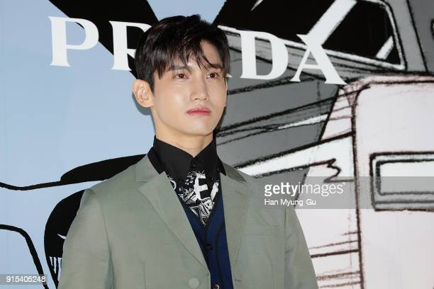 Max of South Korean boy band TVXQ attends the photocall for the 'PRADA' on February 7 2018 in Seoul South Korea