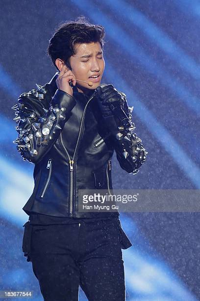 Max of South Korean boy band TVXQ performs onstage the 2013 Hallyu Dream Concert on October 5 2013 in Gyeongju South Korea