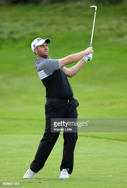Max Orrin of England hits his third shot on the 18th hole during day one of Made in Denmark at Himmerland Golf Spa Resort on August 24 2017 in...