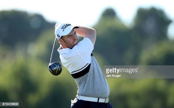 Max Orrin of England in action during the second round of the European Tour Qualifying School Final Stage at Lumine Golf Club on November 12 2017 in...