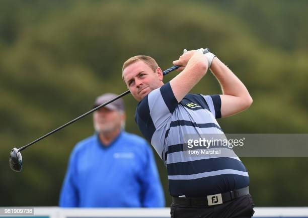 Max Orrin of England plays his first shot on the 1st tee during Day Three of the SSE Scottish Hydro Challenge hosted by Macdonald Hotels and Resorts...