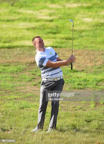 Max Orrin of England plays his second shot on the 1st fairway during Day Two of the SSE Scottish Hydro Challenge hosted by Macdonald Hotels and...