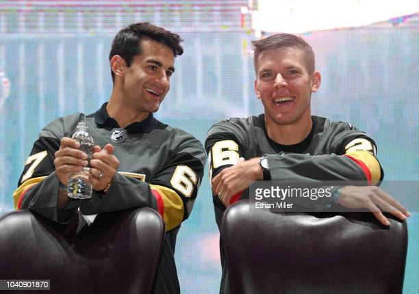 Max Pacioretty and Paul Stastny of the Vegas Golden Knights attend the Vegas Golden Knights Fan Fest at the Downtown Las Vegas Events Center on...