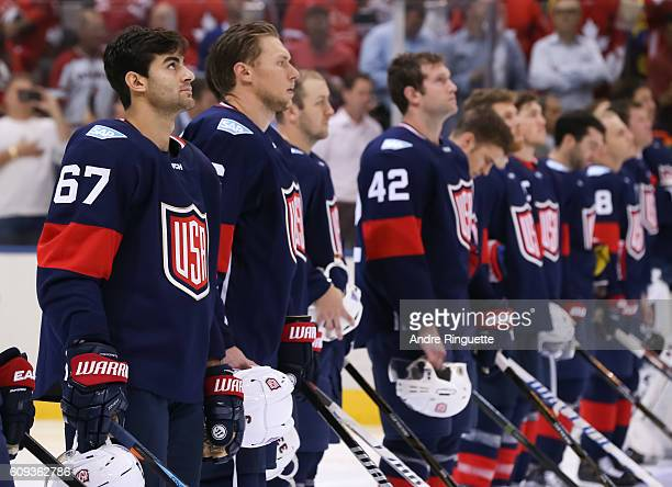 Max Pacioretty of Team USA lines up prior to the game against Team Canada during the World Cup of Hockey 2016 at Air Canada Centre on September 20...