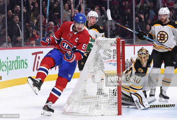 Max Pacioretty of the Montreal Canadiens celebrates after scoring a goal against Tuukka Rask of the Boston Bruins in the NHL game at the Bell Centre...
