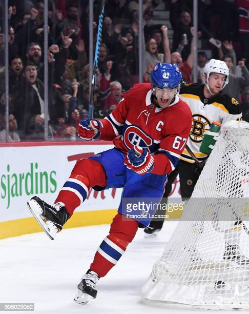 Max Pacioretty of the Montreal Canadiens celebrates after scoring a goal against the Boston Bruins in the NHL game at the Bell Centre on January 13...