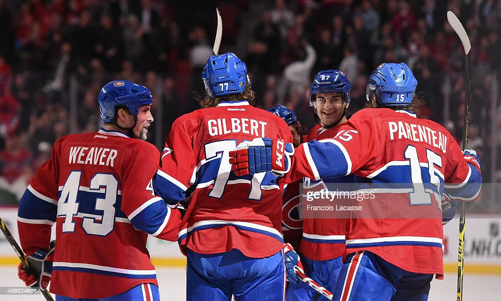Max Pacioretty #67 of the Montreal Canadiens celebrates with teammates after scoring a goal against of the St Louis Blues in the NHL game at the Bell Centre on November 20, 2014 in Montreal, Quebec, Canada.