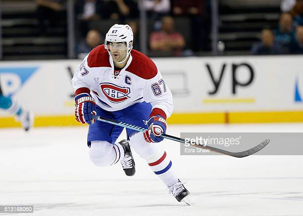 Max Pacioretty of the Montreal Canadiens in action against the San Jose Sharks at SAP Center on February 29 2016 in San Jose California