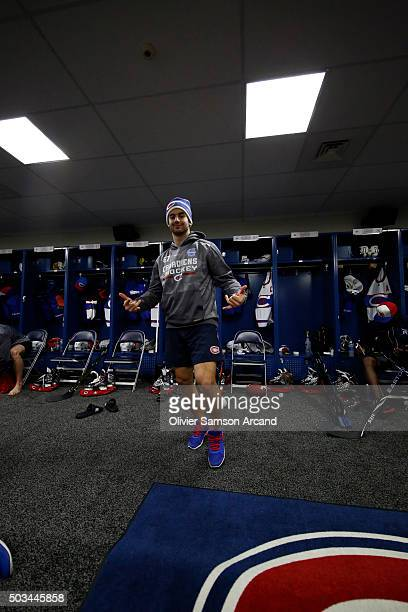 Max Pacioretty of the Montreal Canadiens in the locker room before the game against the Boston Bruins on January 1 2016 during 2016 Bridgestone NHL...