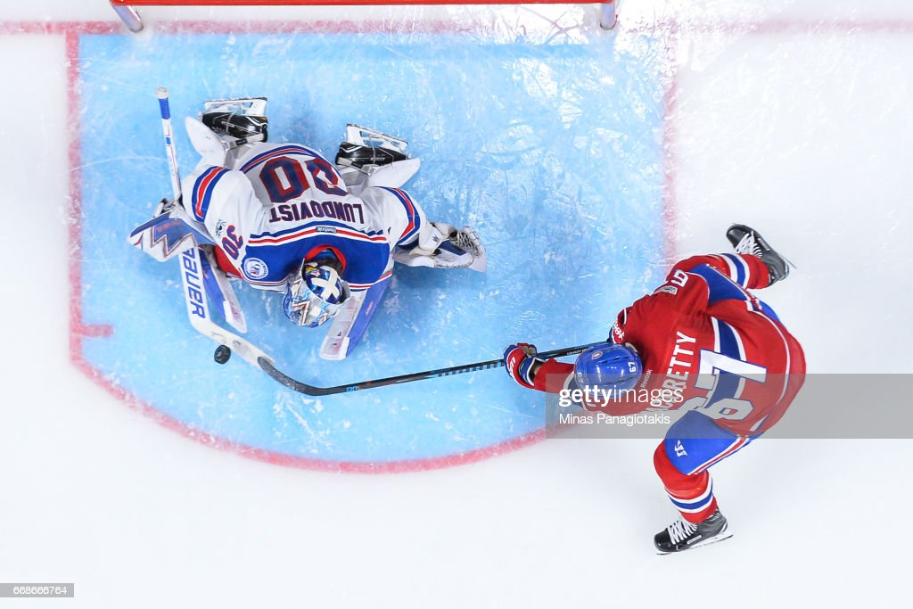 Max Pacioretty #67 of the Montreal Canadiens is stopped by goaltender Henrik Lundqvist #30 of the New York Rangers in Game Two of the Eastern Conference First Round during the 2017 NHL Stanley Cup Playoffs at the Bell Centre on April 14, 2017 in Montreal, Quebec, Canada. The Montreal Canadiens defeated the New York Rangers 4-3 in overtime.