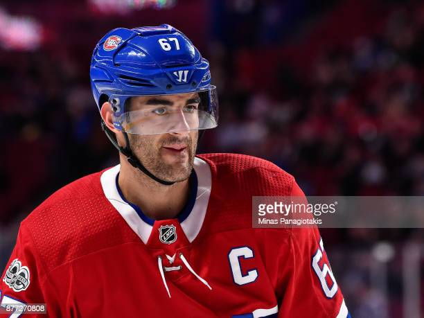 Max Pacioretty of the Montreal Canadiens looks on during the warmup prior to the NHL game against the Toronto Maple Leafs at the Bell Centre on...