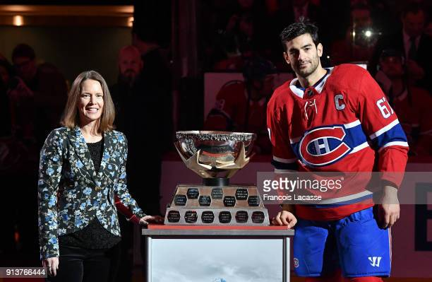 Max Pacioretty of the Montreal Canadiens receives the Molson Cup for the month of January in a ceremony prior to the NHL game against the Anaheim...