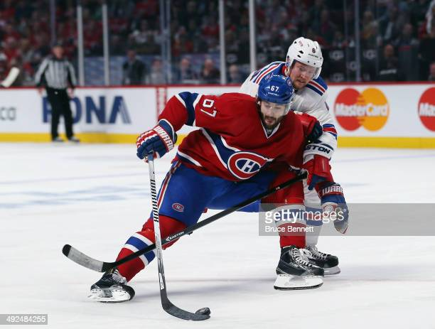 Max Pacioretty of the Montreal Canadiens skates against Anton Stralman of the New York Rangers in Game Two of the Eastern Conference Final during the...