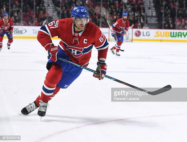 Max Pacioretty of the Montreal Canadiens skates against the Buffalo Sabres in the NHL game at the Bell Centre on November 11 2017 in Montreal Quebec...