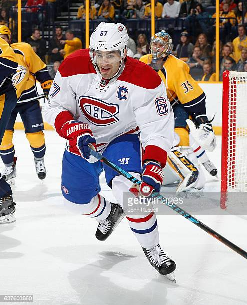 Max Pacioretty of the Montreal Canadiens skates against the Nashville Predators during an NHL game at Bridgestone Arena on January 3 2017 in...