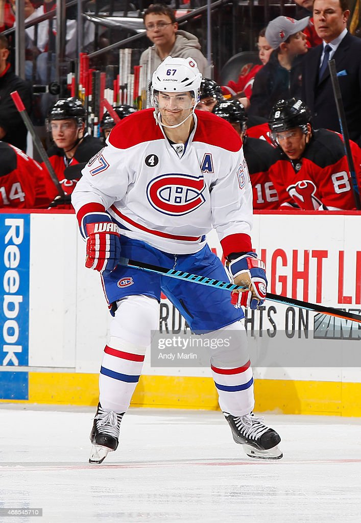 Max Pacioretty #67 of the Montreal Canadiens skates against the New Jersey Devils during the game at the Prudential Center on April 3, 2015 in Newark, New Jersey.
