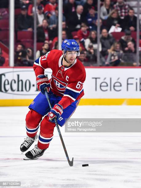 Max Pacioretty of the Montreal Canadiens skates the puck against the Detroit Red Wings during the NHL game at the Bell Centre on December 2 2017 in...