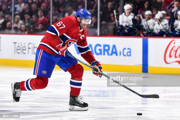Max Pacioretty of the Montreal Canadiens skates the puck against the Vancouver Canucks during the NHL game at the Bell Centre on January 7 2018 in...