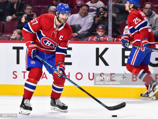 Max Pacioretty of the Montreal Canadiens skates the puck during the warmup prior to the NHL game against the Vancouver Canucks at the Bell Centre on...