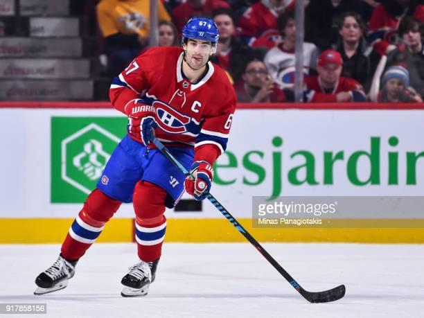 Max Pacioretty of the Montreal Canadiens skates the puck in overtime against the Nashville Predators during the NHL game at the Bell Centre on...