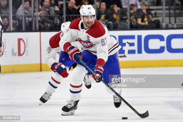 Max Pacioretty of the Montreal Canadiens skates with the puck against the Vegas Golden Knights during the game at TMobile Arena on February 17 2018...