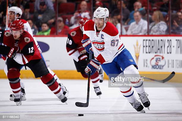 Max Pacioretty of the Montreal Canadiens skates with the puck during the NHL game against the Arizona Coyotes at Gila River Arena on February 15 2016...