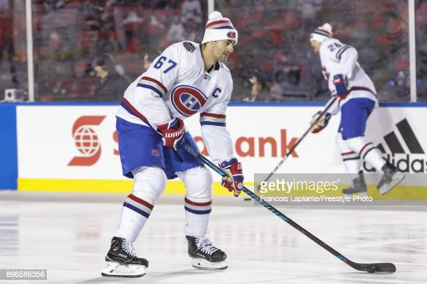 Max Pacioretty of the Montreal Canadiens skates with the puck during warmup prior to the 2017 Scotiabank NHL 100 Classic against the Ottawa Senators...