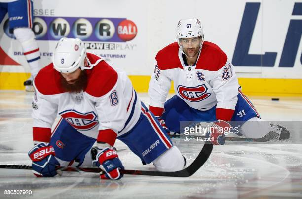 Max Pacioretty of the Montreal Canadiens stretches in warmups prior to an NHL game against the Nashville Predatorsmat Bridgestone Arena on November...