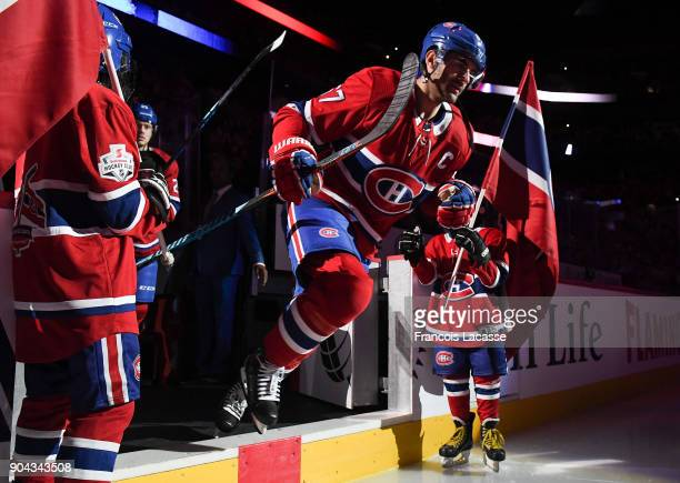 Max Pacioretty of the Montreal Canadiens takes to the ice prior the NHL game against the Vancouver Canucks at the Bell Centre on January 7 2018 in...
