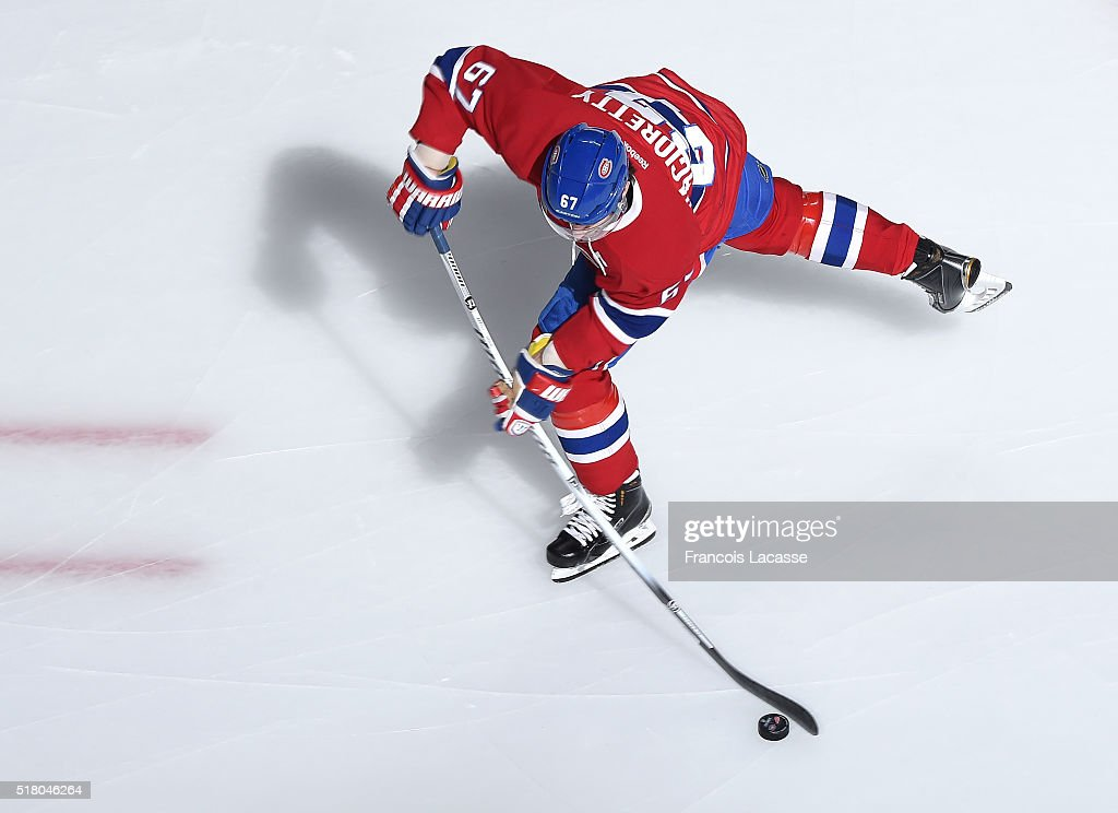 Max Pacioretty #67 of the Montreal Canadiens warms up prior to the NHL game against the Detroit Red Wings at the Bell Centre on March 29, 2016 in Montreal, Quebec, Canada.