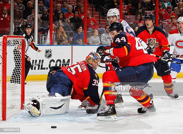 Max Pacioretty of the Montreal Canadiens watches as his shot is deflected by goaltender Jacob Markstrom of the Florida Panthers at the BBT Center on...