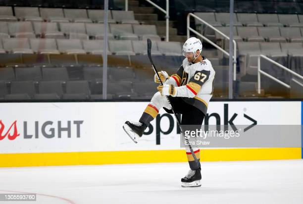Max Pacioretty of the Vegas Golden Knights celebrates after he scored the winning goal in overtime against the San Jose Sharks at SAP Center on March...