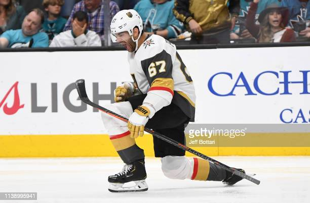 Max Pacioretty of the Vegas Golden Knights celebrates after scoring a goal during the third period against the San Jose Sharks in Game Seven of the...
