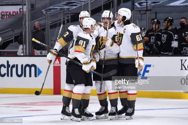 Max Pacioretty of the Vegas Golden Knights celebrates his goal with teammates during the third period against the Los Angeles Kings at STAPLES Center...