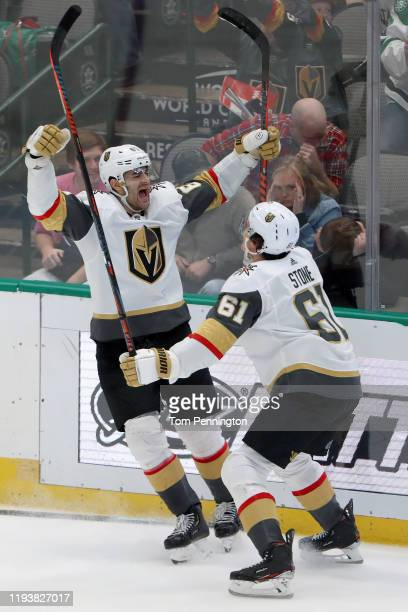 Max Pacioretty of the Vegas Golden Knights celebrates with Mark Stone of the Vegas Golden Knights after scoring the game winning goal against the...