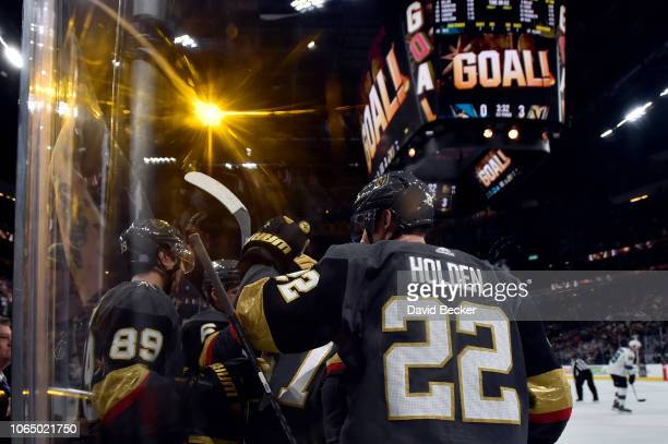 Max Pacioretty of the Vegas Golden Knights celebrates with teammates after scoring a goal during the first period against the San Jose Sharks at...