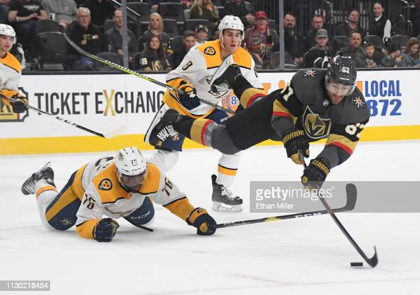 Max Pacioretty of the Vegas Golden Knights dives to take a shot as PK Subban of the Nashville Predators defends in the second period of their game at...