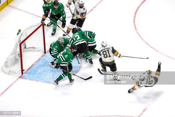 Max Pacioretty of the Vegas Golden Knights hits the post on a shot against Anton Khudobin of the Dallas Stars during the second period in Game Four...