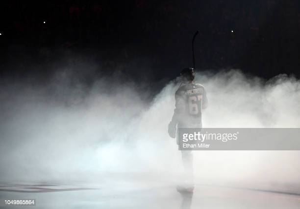 Max Pacioretty of the Vegas Golden Knights is introduced before the team's season home opener against the Philadelphia Flyers at TMobile Arena on...