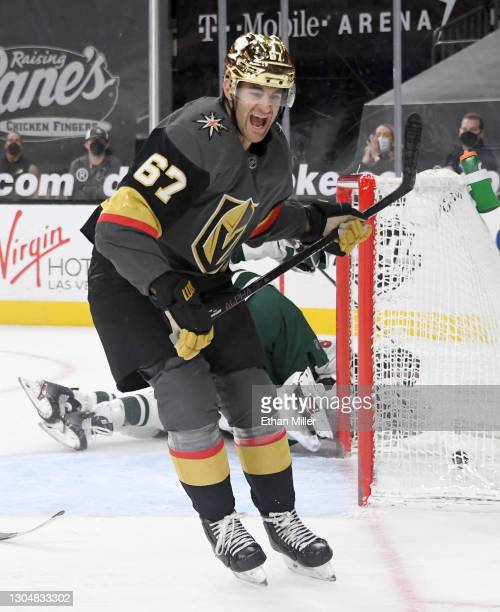 Max Pacioretty of the Vegas Golden Knights reacts after scoring a goal in overtime against the Minnesota Wild to win the game 5-4 at T-Mobile Arena...