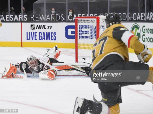 Max Pacioretty of the Vegas Golden Knights scores a goal against John Gibson of the Anaheim Ducks in overtime to win their game 2-1 at T-Mobile Arena...