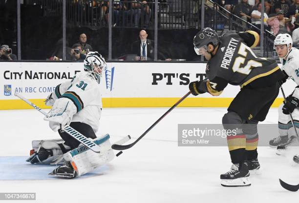 Max Pacioretty of the Vegas Golden Knights scores a short-handed goal against Martin Jones of the San Jose Sharks in the second period of their...